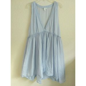 Floreat Anthropologie Blue Babydoll Top